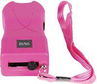 20 Mil Volt Runt Pink Flashlight Stun Gun Self Defense Hiking Camping w case
