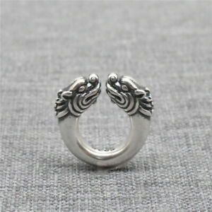 925 Sterling Silver Round Double Dragon Spacer Bead for Bracelet Necklace