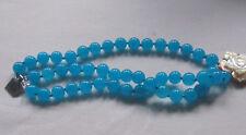 Turquoise blue /3 row quartz/agate, quartz bracelet, MOP clasp, 9 ins