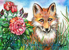 """ACEO LE Art Card Print 2.5""""x3.5"""" """" Fox By The Rose Bush """" Animal Art by Patricia"""