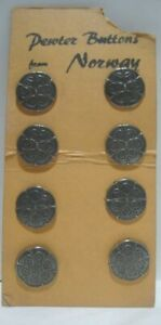 8 Old Metal Pewter Embossed Sewing Buttons from Norway