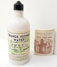 VTG FRANCE Funel Le Cannet De Cannes MILK GLASS Orange Flower Water Bottle