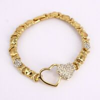 #1 HUGS & KISSES bracelet 18k Layered Real Gold Filled 7.5""