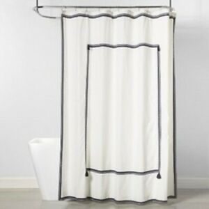 Frame Border Shower Curtain Navy & White Threshold Cotton Size 72 x 72