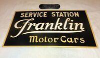 """VINTAGE """"FRANKLIN MOTOR CARS SERVICE STATION"""" 26"""" PORCELAIN METAL GAS & OIL SIGN"""