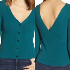 Leith NEW ribbed reversible green sweater sz Small womens BNWT v neck long sleev