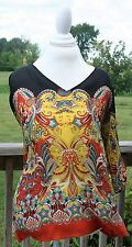 Lavender and Honey Women's Medium Top Sheer Tunic Dolman Short Sleeves Paisley