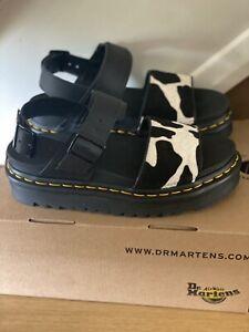 Dr Martens Black Leather Voss Animal Print Cow Sandal Uk Size 4 BNIB