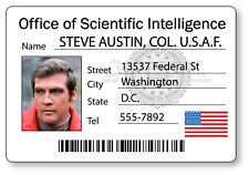 Steve Austin Six Million Dollar Man Bionic Name Badge Halloween Cosplay Pin Back