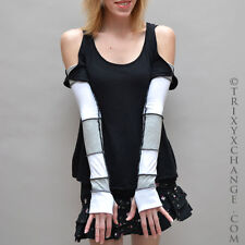 Grey White Long Recycled Patchwork Cotton Arm Warmers Gloves Thumb Holes 1047