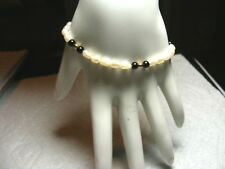 14k Gold Freshwater Pearl and Black Onyx Bracelet