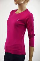 Ralph Lauren Sport Hot Pink Fushia 3/4 Sleeve Knit Top Light Blue Pony NWT