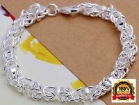 925 Sterling Silver Multi Rope Women's Wide 8mm Bracelet Bangle+Velvet Gift D491