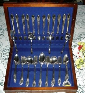 1847 Rogers Bros FIRST LOVE Flatware Set for 12 w/ Wood Chest 78 pcs Very Nice!