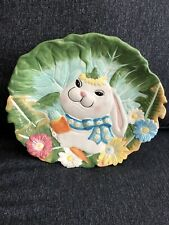 Easter Bunny Rabbit 3-D Oval Platter With Spring Colors