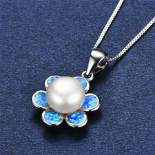 Fashion Silver Blue Artificial Opal White Pearl Pendant Necklace Wedding Jewelry