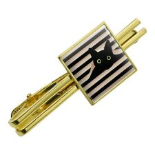 Black Cat In Window Square Tie Bar Clip Clasp Tack- Silver or Gold