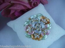 Brosche ✿ Blumenbouquet ✿ Pastell STRASS Anstecknadel NADEL Kristalle