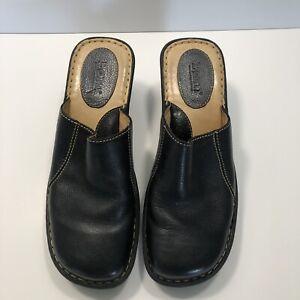 BORN Womens Black Leather Slip On Mules Size 10 / 42 W3510