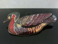 VTG LOVELY RARE MULTI COLOR ENAMEL ON GOLD TONE METAL DUCK BIRD PIN BROOCH