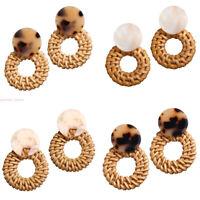 1 Pair Charm Women Wood Bamboo Rattan Geometric Circle Dangle Earrings Jewelry