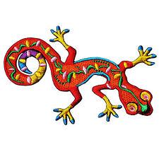 LIZARD GECKO MULTI Funny Colorful Orange Embroidery Iron Sew On Patch Animal DIY