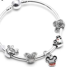 Disney Minnie Mickey Mouse Silver Plated Charm Bracelet