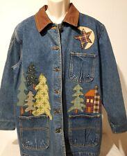 Haiks Woman's Fall Denim Jacket Size L Sewn On Patchwork Design EUC