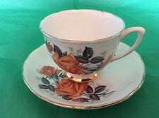 BONE CHINA CUP & SAUCER BY COLCLOUGH BROWN CABBAGE ROSE GOLD TRIM