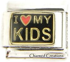 I Love My Kids Black Link Red Heart For 9mm Italian Charm Bracelets Mom Family