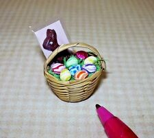 Miniature Lola Filled Easter Basket, Chocolate Bunny (Style #1): DOLLHOUSE 1/12
