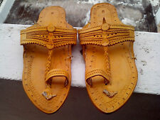 US 9 women sandal handmade leather flip flop ethnic mojari shoes thong flip on