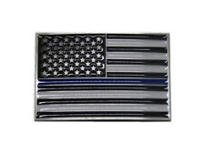 USA American Thin Blue Line Police Officers Memorial Rectangle Metal Belt Buckle