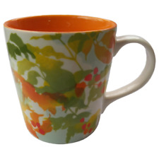 Starbucks Floral Watercolor Coffee Mug 2008 14 oz Orange Green Yellow Botanical