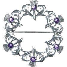 Sterling Silver & Amethyst Thistles Brooch