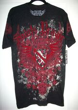 RAW STATE | MENS SHORT SLEEVE BLACK GRAY RED FELT  T- SHIRT SIZE  M  | NEW