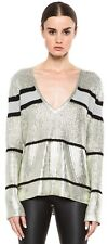 Sass and Bide Silver Striped Knitted Jumper Size Small