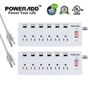 Poweradd 2x 6-Port Outlet Power Strip Surge Protector with 6 USB Charging Ports