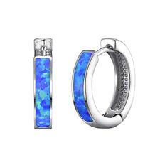 Blue Synthetic Opal Hoop Earrings