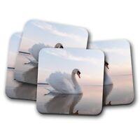 4 Set - Elegant Swan Coaster - Bird Pink Lake Pretty Girls Animals Gift #15485
