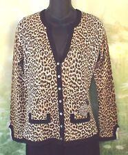 CHARLOTTE TARANTOLA Leopard Silk Angora Beads Sequins Beautiful Cardigan S