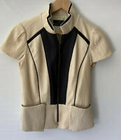 CUE stunning textured Zip Front Fold Pleat Blouse Top Size 8