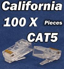 100 X Pcs RJ45 Plug Cat5 CAT5E 8P8C Modular LAN Network Cable Connector Ethernet