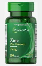 Puritan's Pride, Zinc 25 mg, 100 Caplets, Vegetarian, Gluten Free, EXP 04/2024