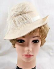 New listing Vintage Ladies Womens Lancaster Fedora Hat Cream Wool Felt Feather Trim 6409B