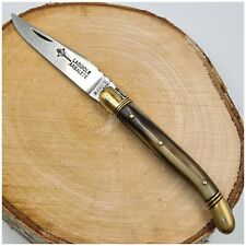 Couteau LAGUIOLE G.DAVID ARBALÈTE platines et mitres laiton corne-Pocket knife