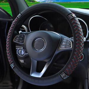 Black Red PU Leather Diamond Car Steering Wheel Cover Universal 15''/38cm Women
