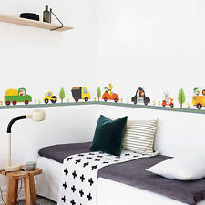 Childrens Animal Car Wall Stickers Decals Nursery Boys Kids Bedroom Removable