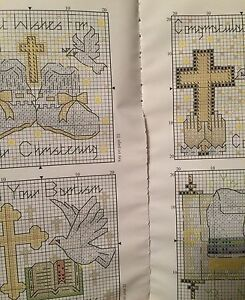4 X Christening Baptism Cross Stitch Charts And Cotton Guide