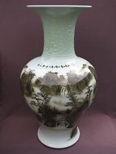 Huge Chinese Embossed Celadon Ceramic Hand Painted Landscape Temple Floor 50 lbs